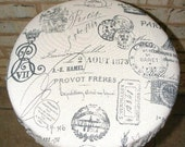 """Oh LaLa French Script Black an Cream Duck Cotton 12"""" an13"""" Reversible Bar Stool Cover with Foam Insert 4 Looks 1 Cover"""