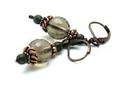 Smoky Quartz Neutral Drop Earrings with Copper / Earthy Dangle Earrings / woodland / petite