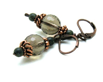 Smoky Quartz Neutral Drop Earrings with Copper, Petite Dangle Earrings, Stocking Stuffer for her under 50