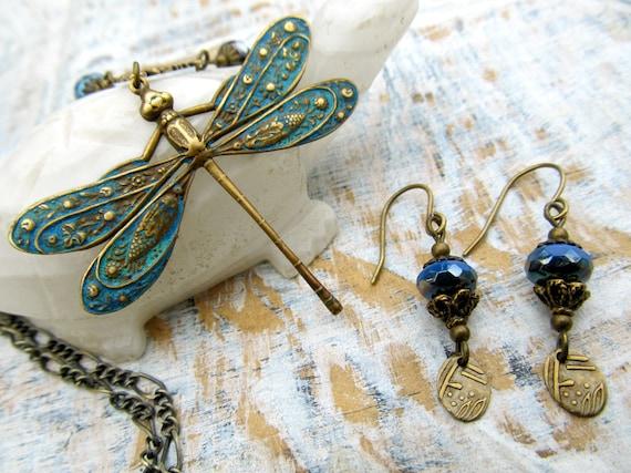 blue dragonfly necklace set patina brass jewelry patina jewelry