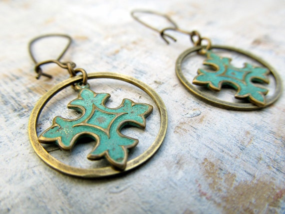 green Bohemian earrings Patina Coptic Cross earrings ethnic Bohemian jewelry