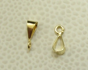 Simple and Shiny 24k Gold Vermeil Smooth Necklace Slide Bail 12mm (1 piece)