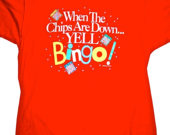 Vintage early 90s Red BINGO Shirt Mens Size Large Made in USA