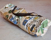 ON SALE yoga, pilates mat bag, tan, blue, yellow, and green floral BOHO yoga bag with zipper, many pockets, and adjustable strap