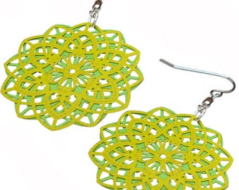 Spirograph Stainless Steel Earrings in Lime/Apple Green