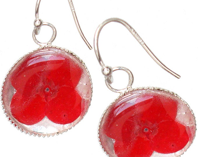 Red Verbena Flower /sterling silver earrings