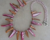 Pink and Orange Mother of Pearl Necklace