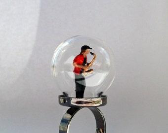 Saxophone Player Muscian Terrarium Globe Ring