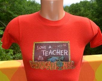 vintage 80s tee shirt LOVE a teacher it's educational school red glitter t-shirt XS Small