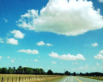 Landscape photography, bright blue sky, road trip summer photo, typography wall art, inspirational, country road, white clouds - Oh So Happy
