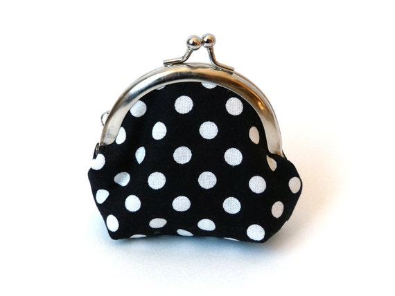 Black and White Polka Dot Fabric Coin Purse iPhone Earbud Case with Pink Cotton Floral Lining