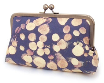 Tree rings, clutch bag : original printed purse with silk lining, gift box, ON SALE
