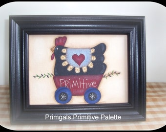 Primitive Chicken Penny Rug Handpainted Home Decor Picture