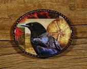 black crow fine art belt buckle - sea urchin