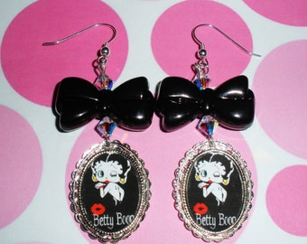 Betty Boop  earrings altered art jewelry wearable art