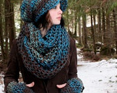 SET WATER Rasta Love Cowl Hood Vegan scarf slouch hat fingerless gloves Teal Turquoise Aqua blue Brown