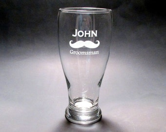 Personalized Mustache Pilsner Glasses - SET OF 6