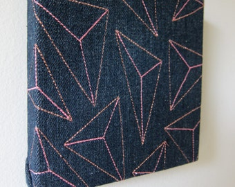 Prisms Textile Wall Art by Tiny Marie OOAK pink/copper