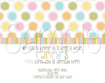 Polka Dots & Stripes Printable Party Invitation