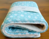 On Sale, save 20%; Organic Burp Cloth, Set of Two in DOUBLE-DOT AQUA, Blue Polka Dot Burp Cloths Gift Set of 2 by Organic Quilt Company