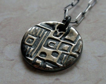 Geometric Pattern Silver Necklace Oxidized Architecture Design Squares and Cubes