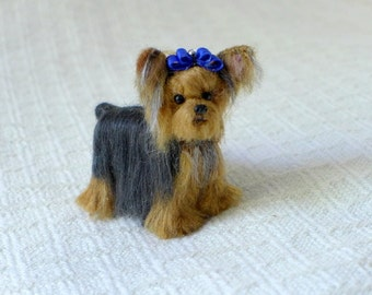 Felted Miniature Needle Felted Dog /  Custom Pet Portrait / Made Just for You / example Yorkshire Terrier / Yorkie