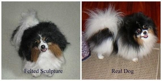 Needle Felted Dog / Custom Pet Portrait /  Miniature Sculpture of your pet / cute / poseable by Fiber artist GERRY/ example Pomeranian