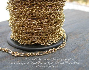 5 Feet - Quality Gold Plated 2.3mm Long Short Figaro Bulk Chain