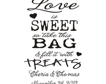 love is sweet rubber stamp great for custom treat bags or wedding favor bags --5712