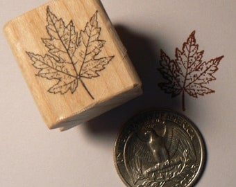 Leaf rubber stamp miniature 0.7x1