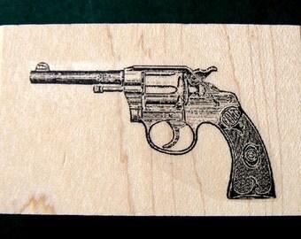 "Colt gun rubber stamp  2x1"" deep etched P22"