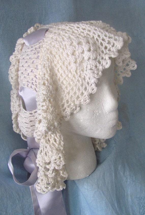 Sale 1800's Victorian Crocheted Boudoir House Cap Was 35.00 Now 24.99