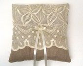 Wedding Ring Bearer Pillow - Linen and Lace in Natural Beige