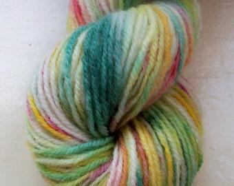 Sock yarn hand painted merino alpaca 100g green red coral lemon