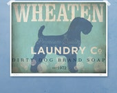 Wheaten Terrier laundry company laundry room artwork giclee archival signed artists print