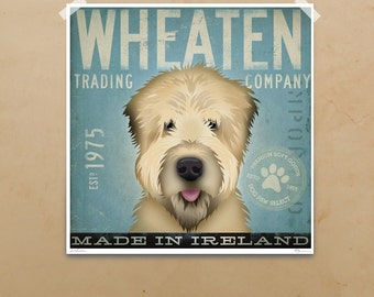 Wheaten Terrier Trading company graphic giclee signed artists print by stephen fowler