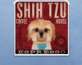 Shih Tzu dog Coffee Company original graphic illustration giclee archival signed artist's print by Stephen Fowler Pick A Size