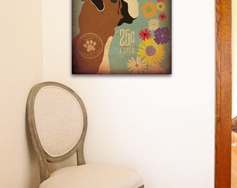 Boxer Flower company graphic illustration on gallery wrapped canvas by Stephen Fowler