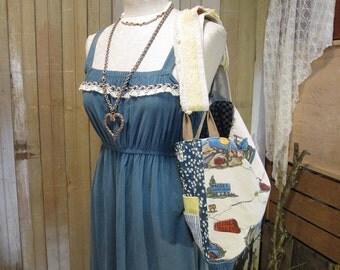 Vintage Patchwork Market bag Lace purse road trip Adjustable shoulder or crossbody tote bag Chicago Calico weekender Handmade messenger bag