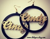 Double layer circle name earrings (custom name and color)