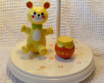 Vintage Nursery Lamp - Painted Wooden Yellow Bear with Honey Pot - So Sweet