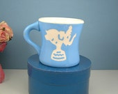 Harker Pottery Child's Cup, Cameo Baby Blue, Vintage c1940, Elephant and Soldier, Toddler Mug, Collectible