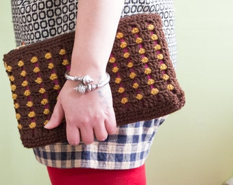 Winter Crocheted Clutch, Brown and glitter Gold