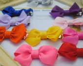 Mini Pinwheel Hairbows..Set of 10 Basic Hairbows..You Choose Color..Flat Loop Baby Hairbows..2 Inch Pigtails..Toddler Size Petite Hair Clips