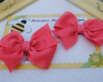 Watermelon Pink Hair Bow Pair -  Set of Toddler Bows - 3 Inch Pinwheel - Salmon Pink Bows in Pairs for Girls - Matching Bows - Pigtail Bow