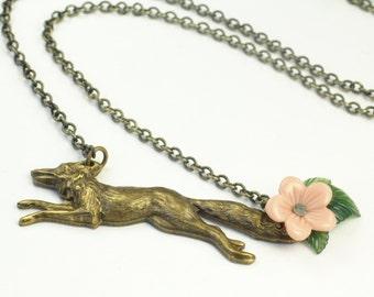 Fox necklace vintage style brass pink flower woodland retro bronze