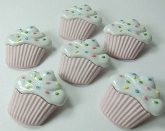 Large Pink Cupcakes with Sprinkles Novelty Buttons
