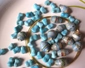 Jewelry bracelet kit - Turquoise & hand-rolled paper beads