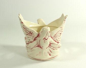 Angel Ceramic Tea Light Votive Candle Holder Pink