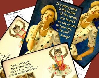 Funny Postcards Snarkalicious Greetings Printable 2 Designs per set Instant Download